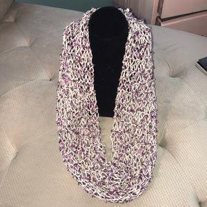 Accessories - Handknit Purple ribbon yarn infinity loop scarf